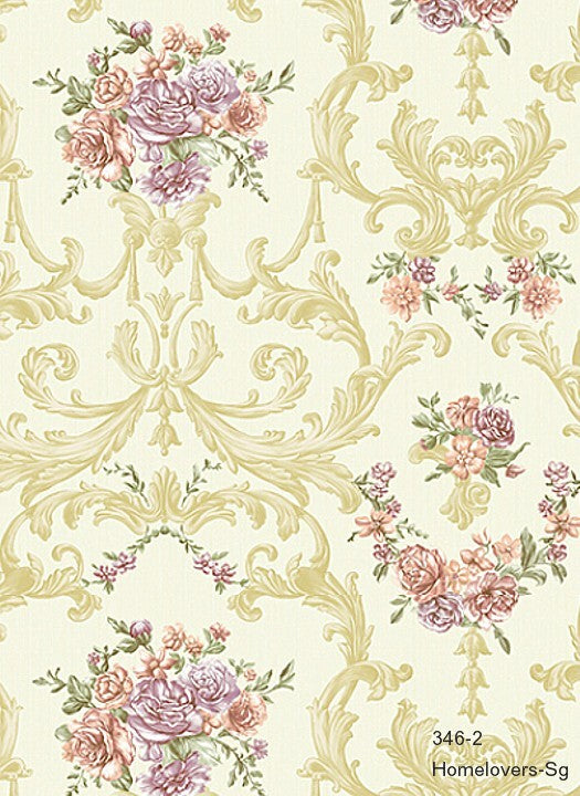 Flower Design Wallpaper 346-1 (3 colourways) (Korea)