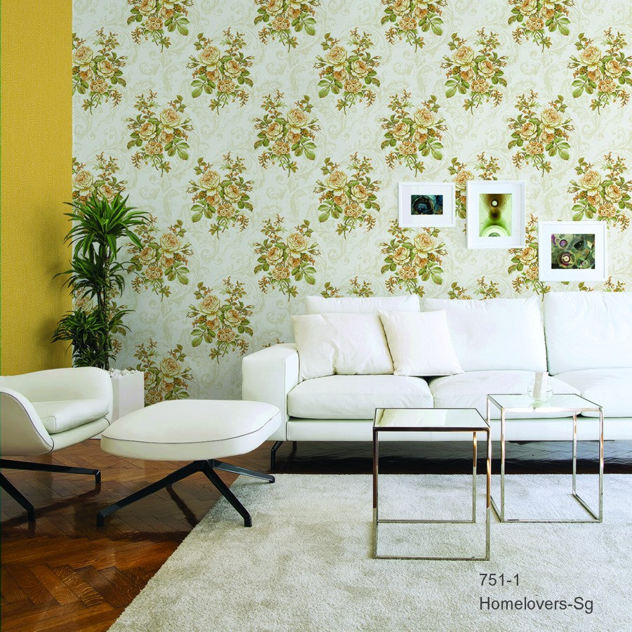 Flowers Design Wallpaper 751-1 (3 colourways) (Korea)