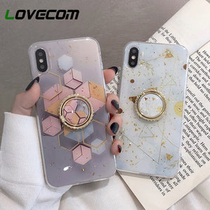 iPhone Gold Powder Geometric Marble Ring Holder Phone Case