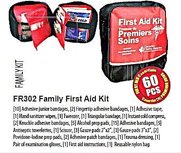 Family First Aid Kit, kit contents