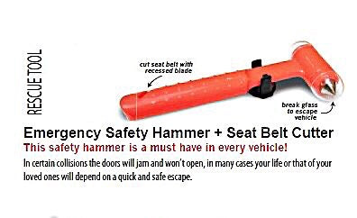 Rescue Tool - Emergency Safety Hammer + Seat Belt Cutter Rescue Tool