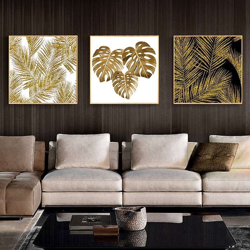 Golden Leaves Canvas Painting - AIO4HOME