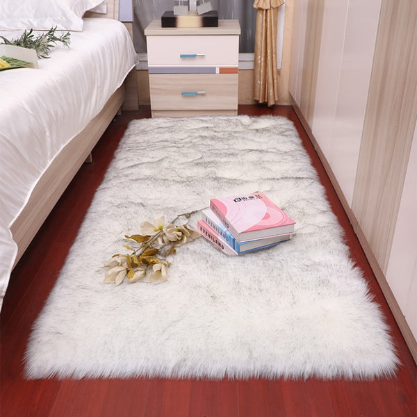 Hair Fluffy Area Rugs And Tapetes Soft Sheepskin Modern Rug  White Faux Fur Carpets Rug for Living Room Bedroom