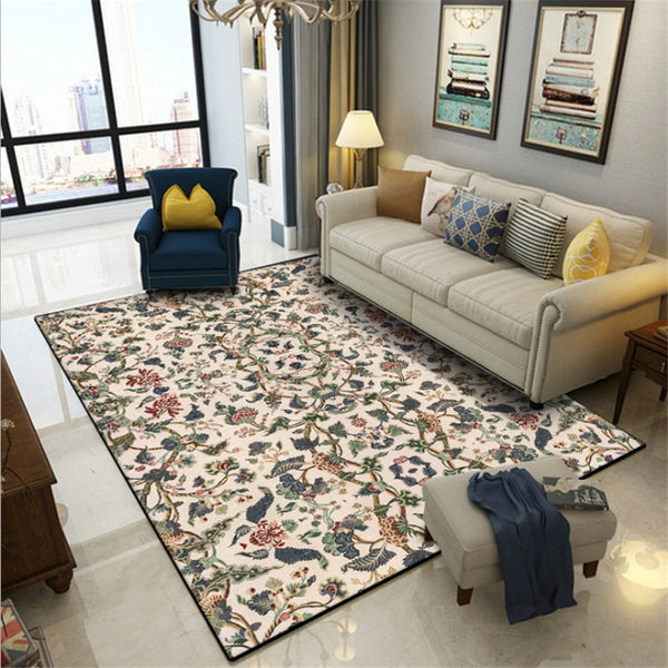American Floral Pattern Carpet Carpets For Living Room Non-slip And Anti-wrinkle Floor Mats