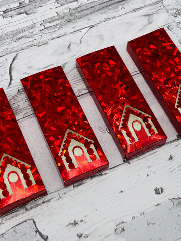 Red Holographic Wax Melt Snap Bar Packaing
