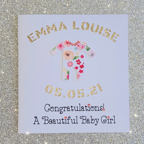 New Baby Girl Personalised Card