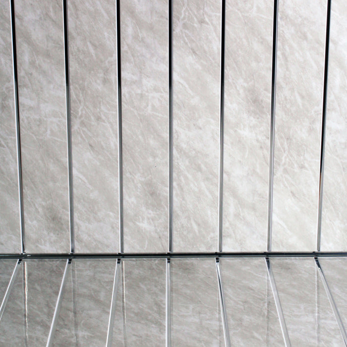 Grey Marble chrome pvc cladding shower panels