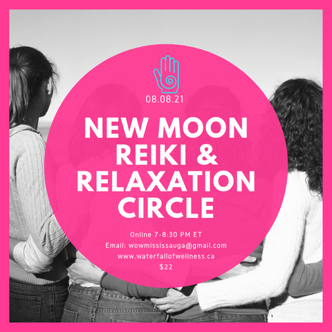 New moon 08.08.21 Reiki circle meditation energy medicine online event connection relax unwind virtual self care self love August Lions Gate Portal Oracle Card reading hand drum singing Indigenous