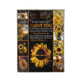 Fleece sunflower Blanket to my wife never forget that i love you