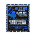 Fleece American football Blanket dad to son  never forget that I love you