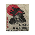 Fleece spartan Blanket a man a warrior and a monster inside