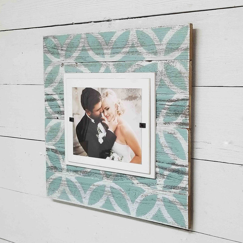 Turquoise Farmhouse Rustic Wood Picture Frame