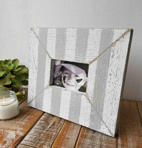 Striped Nautical Style Chunky Rustic Distressed Wood Picture Frame