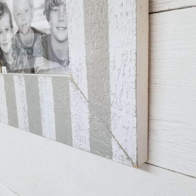 Modern Farmhouse Nautical Striped Distressed Wood Picture Frames | Larger Frames
