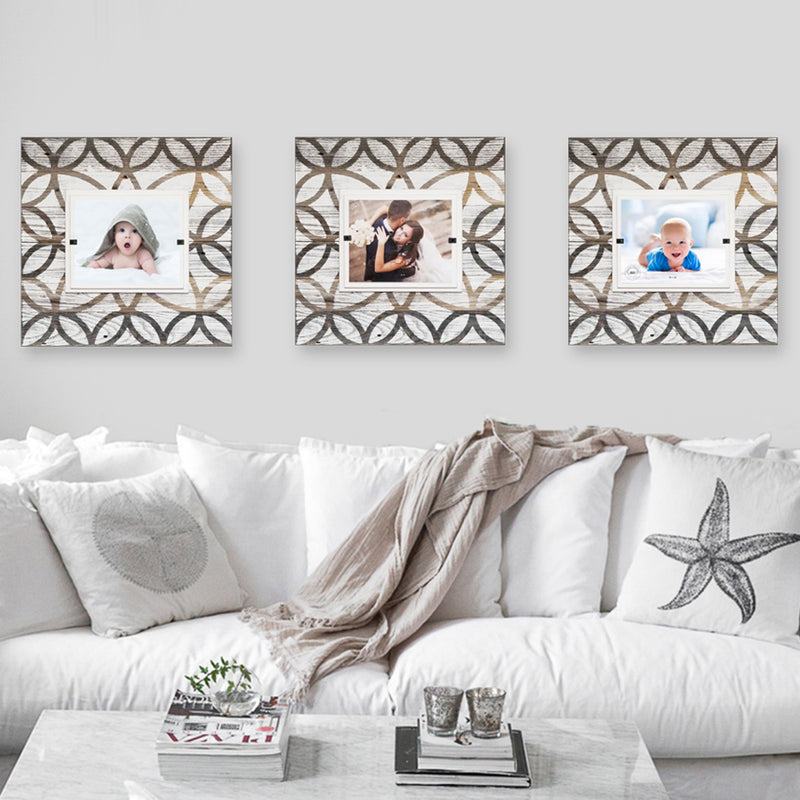 Farmhouse Tile Pattern White Washed Rustic Wood Frames - Sets