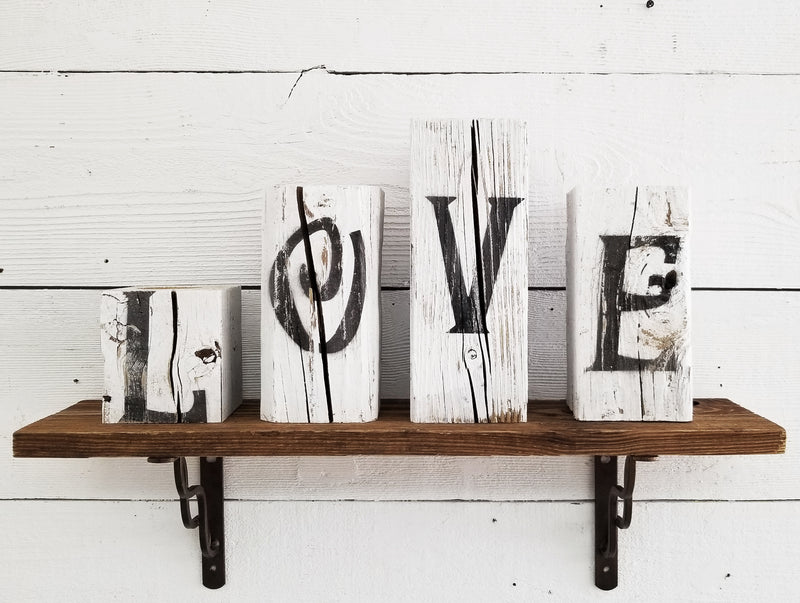 LOVE Sign Reclaimed Chunky Rustic Wooden Block Christmas Farmhouse Decor