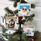Distressed Rustic Wood Christmas Ornament Frame Set