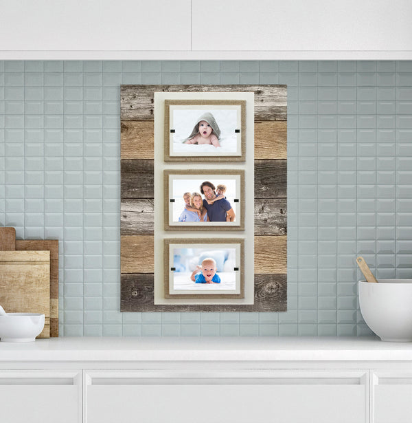Triple 4x6 Picture Rustic Reclaimed Wood Picture Frame with Burlap Accent Backboards