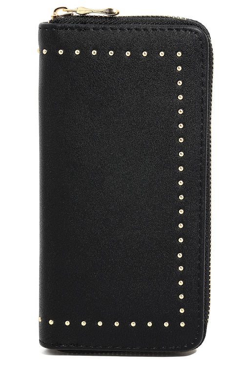 Anarchy Street Ladies Studded Rim Zipper Wallet In Black