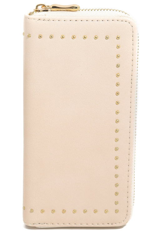 Anarchy Street Ladies Studded Rim Zipper Wallet In Blush