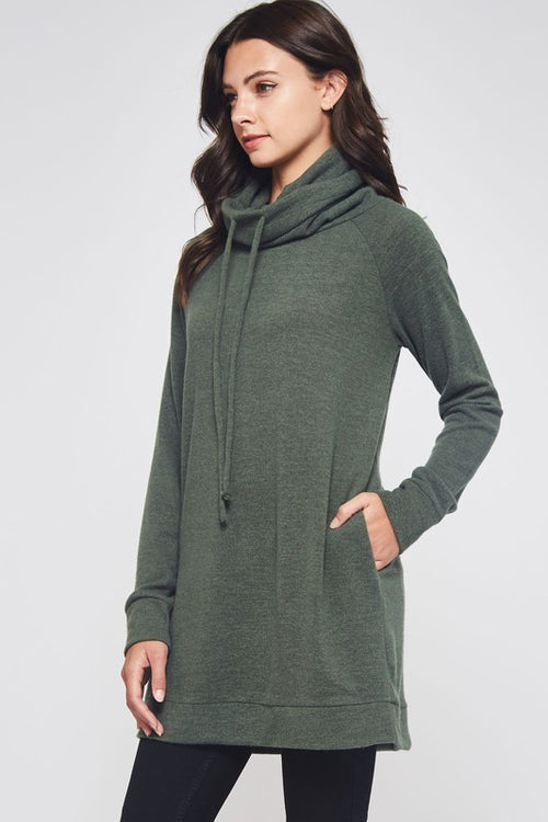 Beeson River Ladies Cowl Tunic Top in Olive