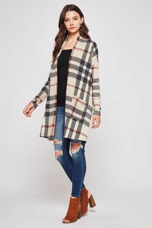 Beeson River Ladies Tartan Plaid Cardigan