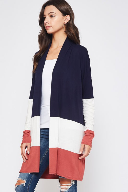 Beeson River Ladies Color Block Cardigan