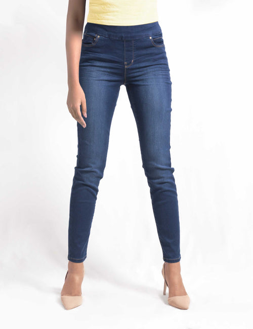 Olgyn Ladies Stretch Denim Pull Up Pants In Dark Blue Denim