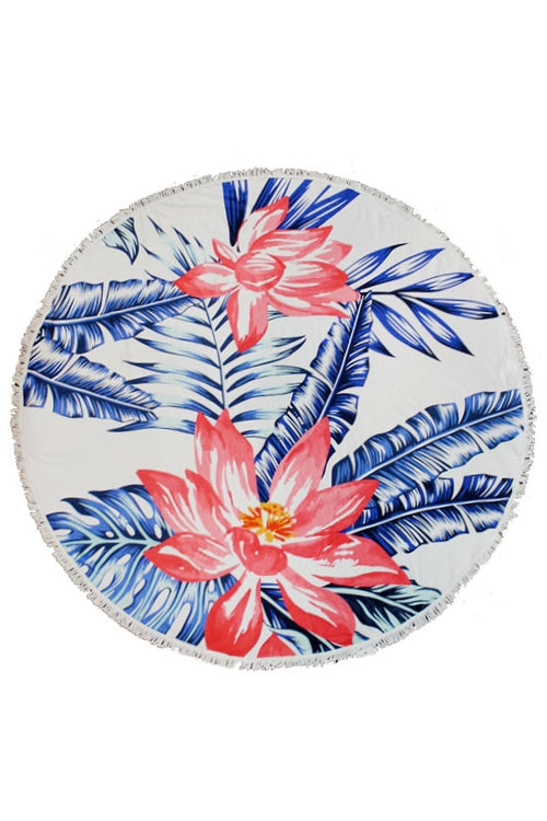Cap Zone Ladies Printed Circle Beach Towel In Floral
