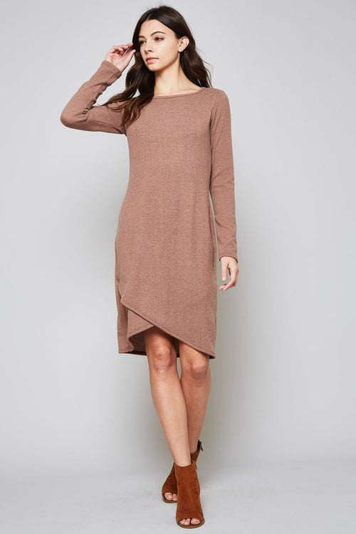 Beeson River Ladies Solid Sweater Dress in Purple Bean