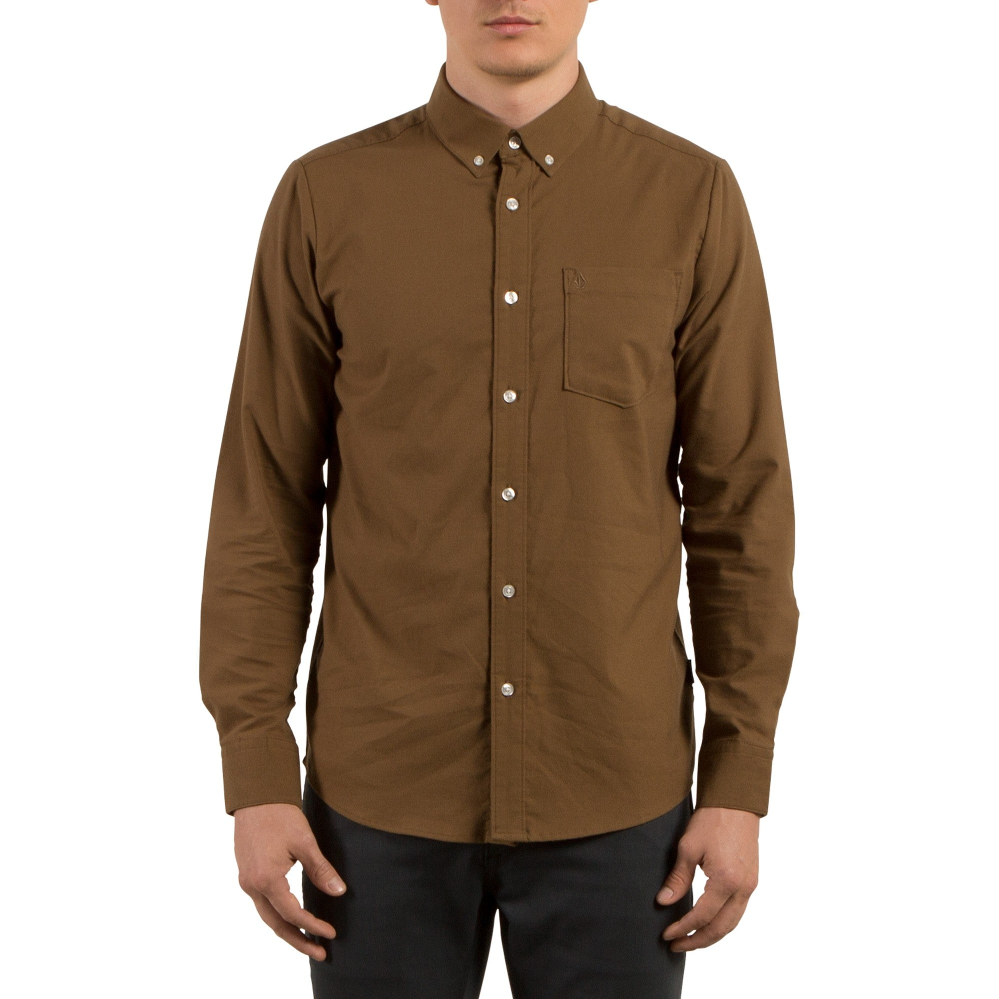 Volcom Mens Oxford Stretch Long Sleeve Button Up Shirt Mud