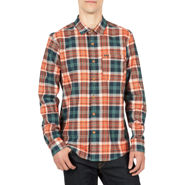 Volcom Mens Hayden Flannel Long Sleeve Shirt Papaya