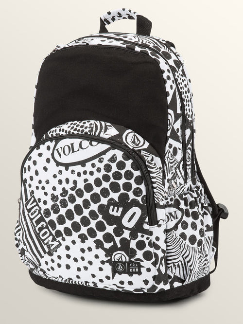 Volcom Girls Fieldtrip Canvas Backpack In Black/White