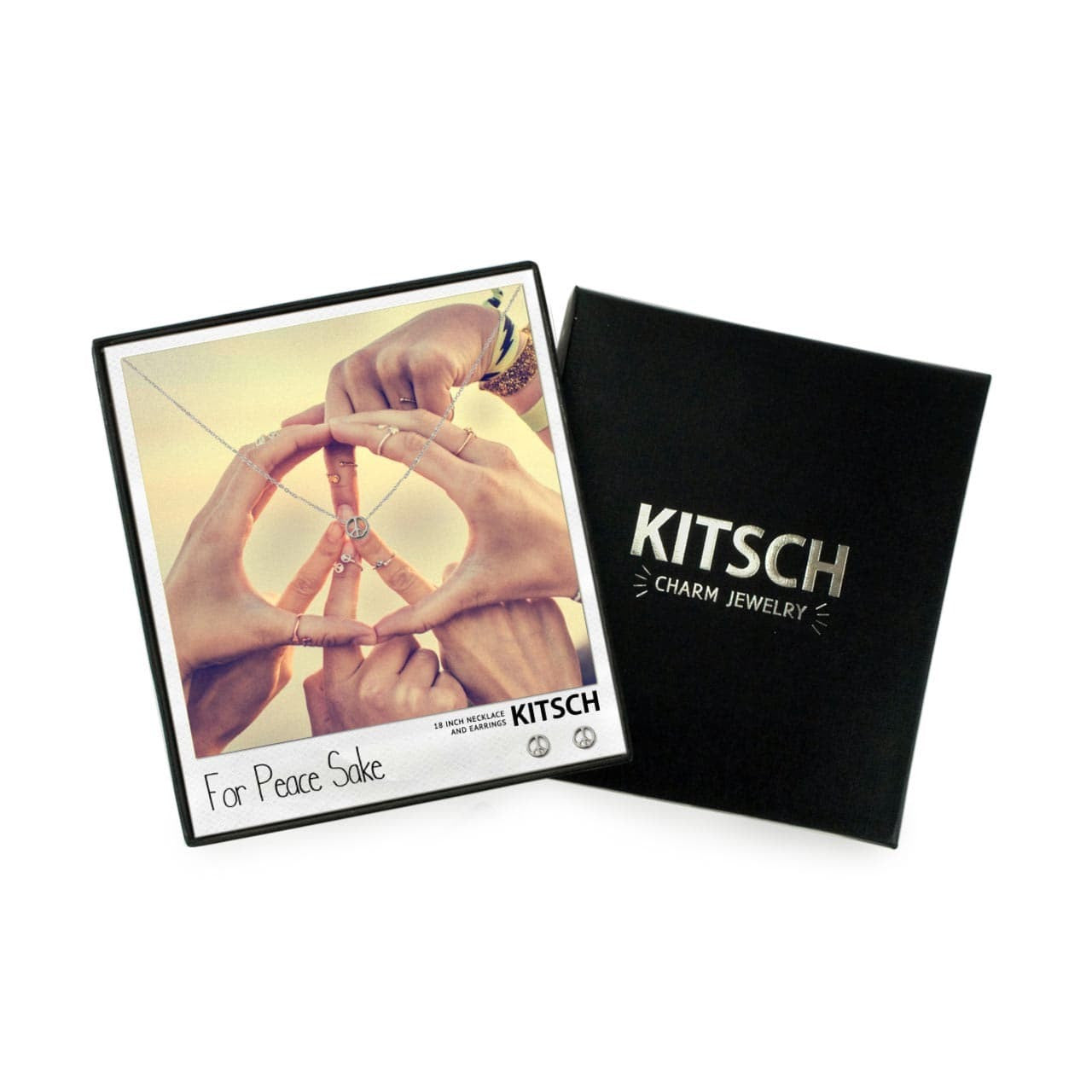 KITSCH Peace Necklace & Earring Set Silver