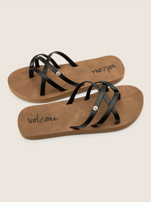 Volcom Girls New School Sandals Youth In Black