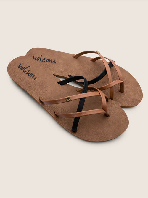 Volcom Ladies New School Sandals In Brown Combo