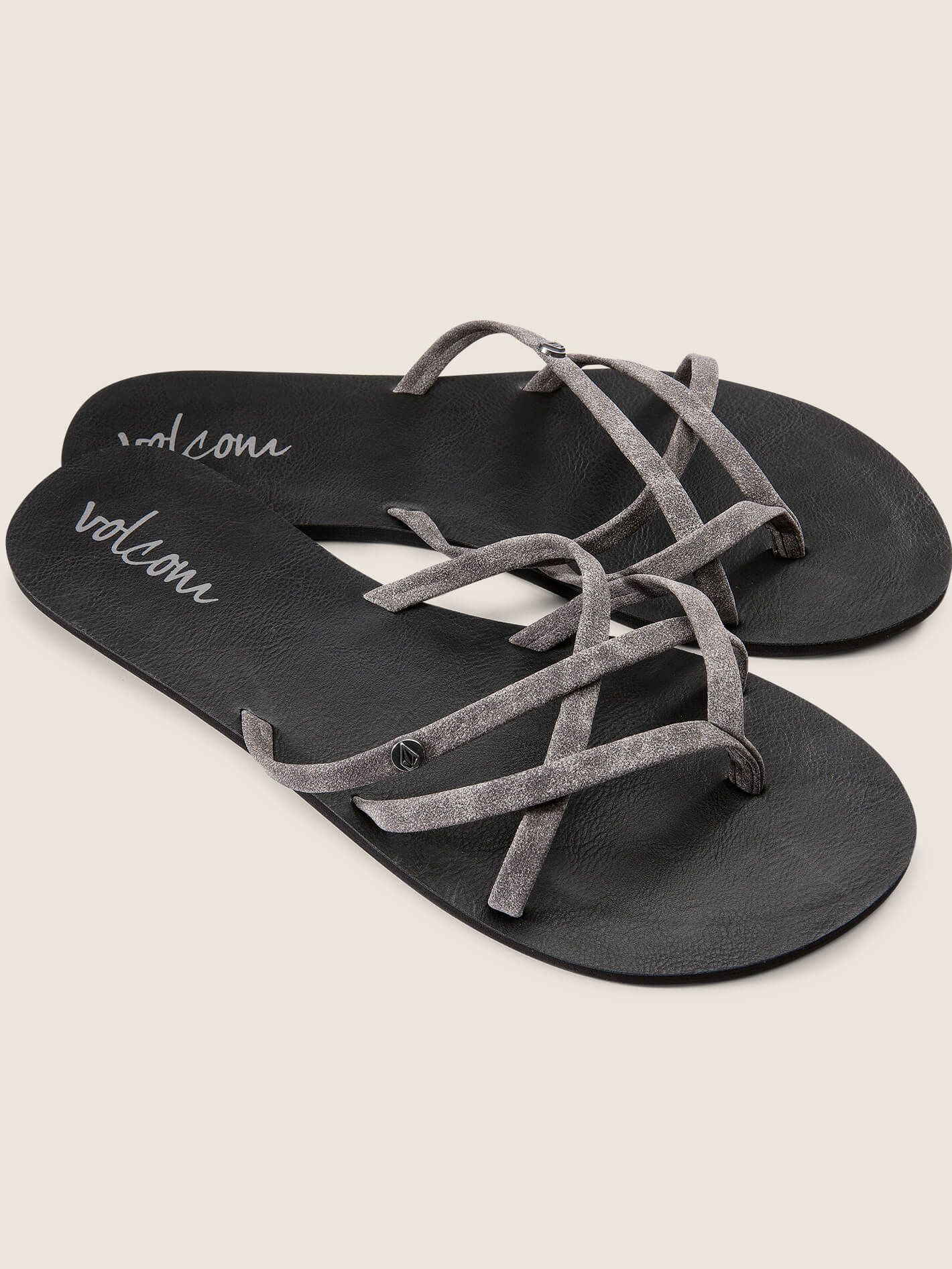 Volcom Ladies New School Sandals In Grey