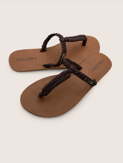 Volcom Ladies Fishtail Sandals In Brown