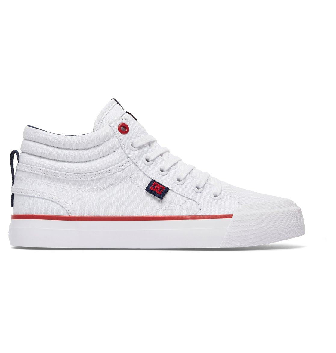DC Ladies Evan Hi TX High Top Shoes in White/ Red