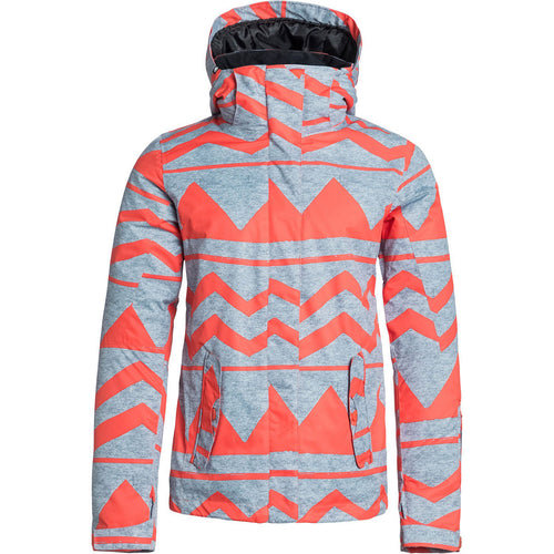 ROXY Ladies Jetty Jacket in Heather Grey/Orange