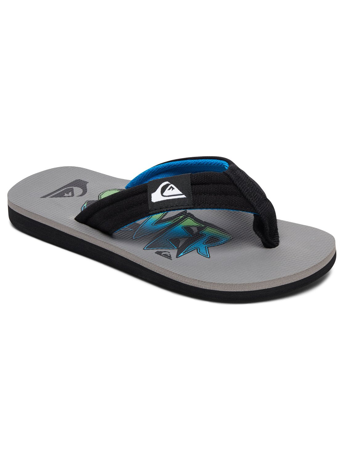 Quiksilver Boys Molokai Layback Youth Sandals In Black/Blue/Grey