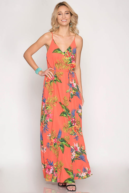 She + Sky Ladies Cami Maxi Dress In Tropical Coral