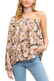Entro Ladies Floral Print Top Sand
