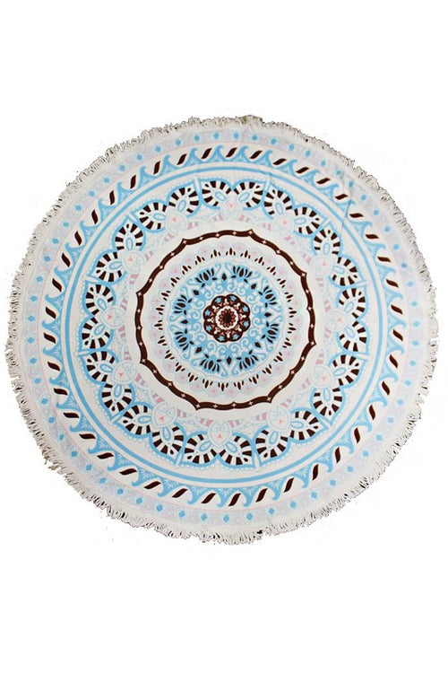 Cap Zone Ladies Thick Circle Beach Towel In White/Aqua