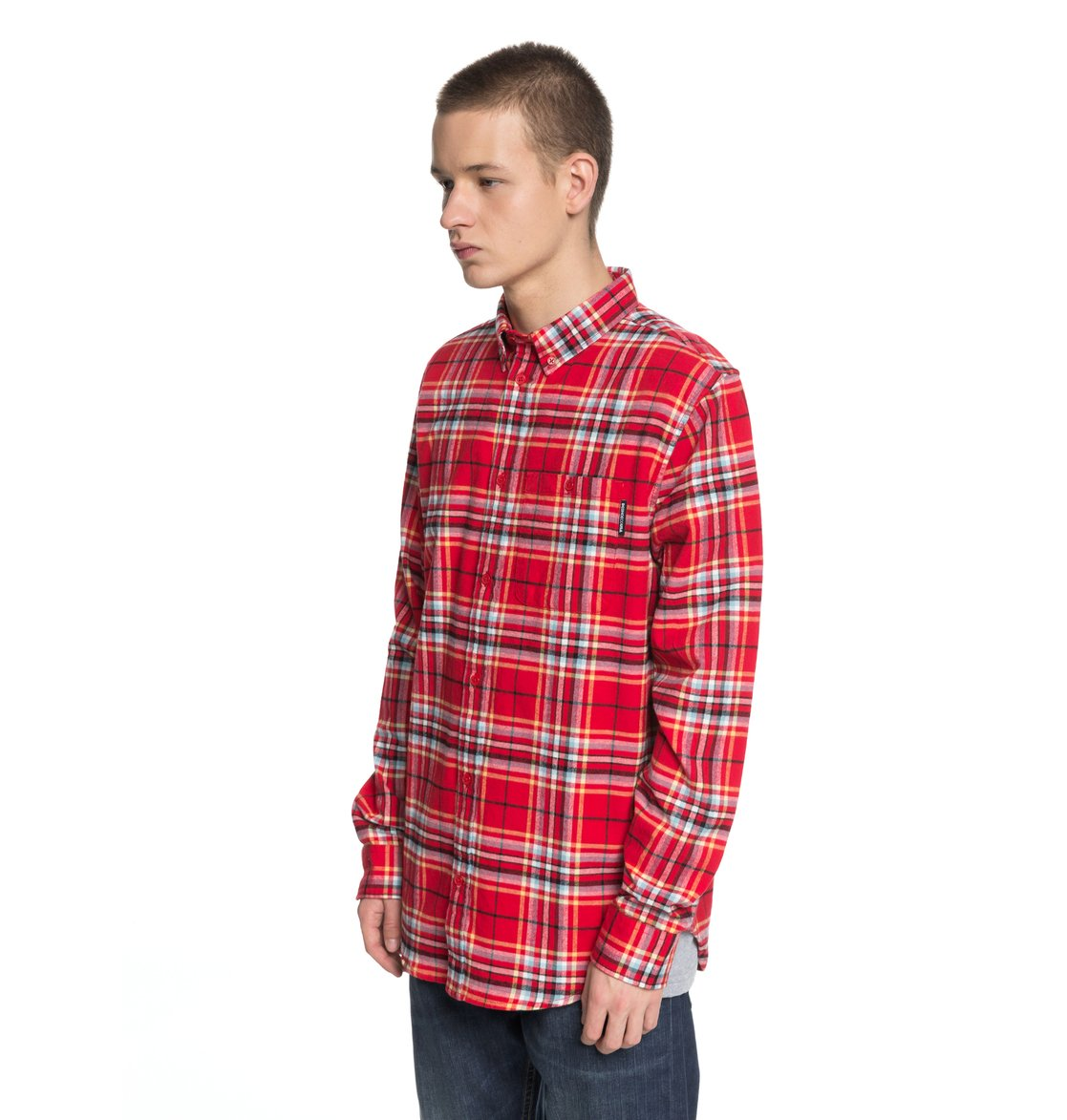 DC Mens South Ferry LS Button Up Shirt In Tango Red