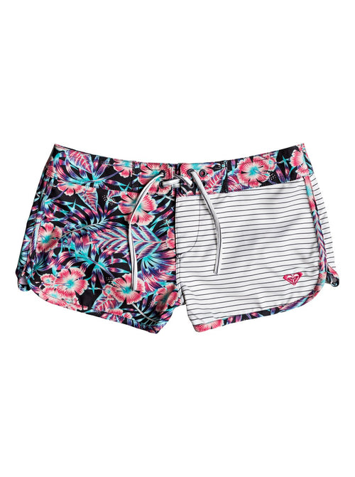 Roxy Girls Surfing Miami Boardshort In Anthracite Tropical Dream