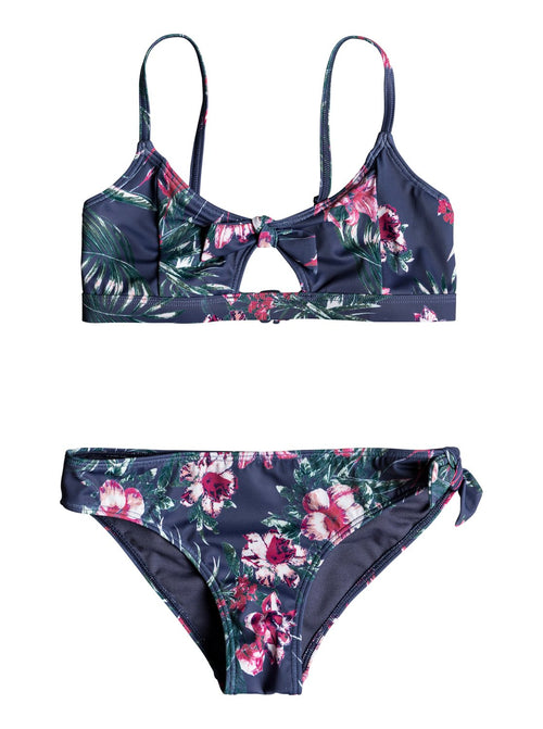 Roxy girls Surf The Desert Athletic Bikini Set In Crown Blue Flower Games