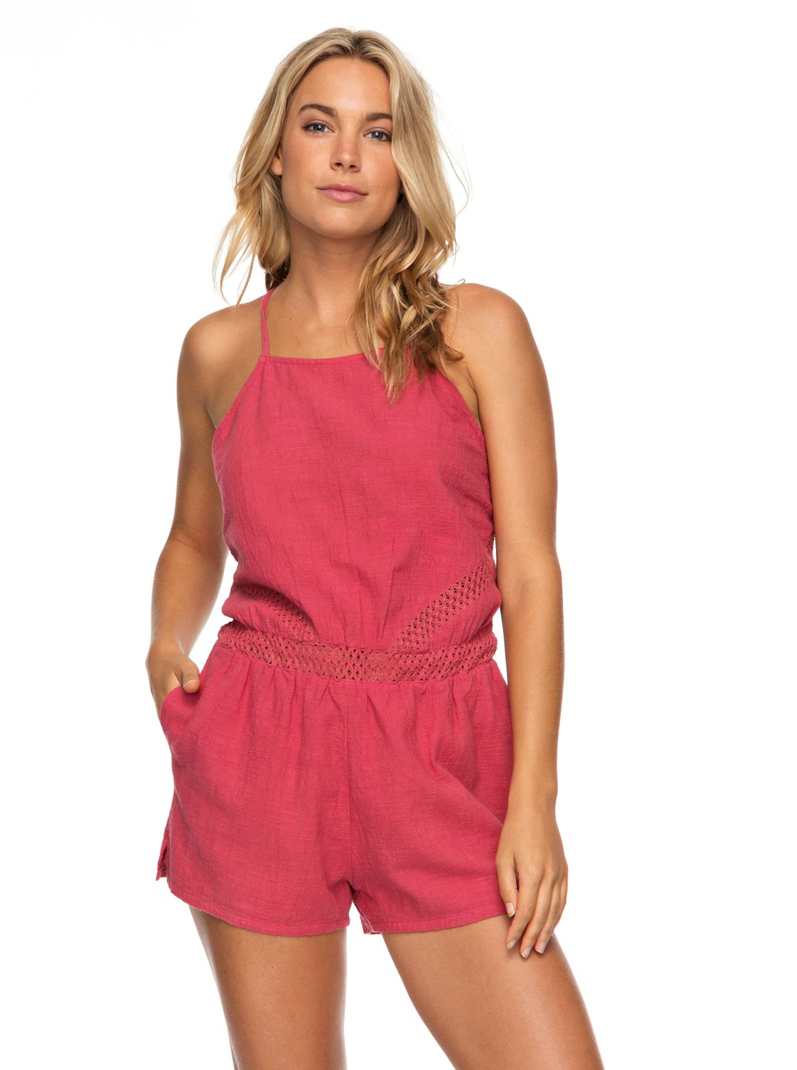 Roxy Ladies Desert Hikes Strappy Romper In Holly Berry