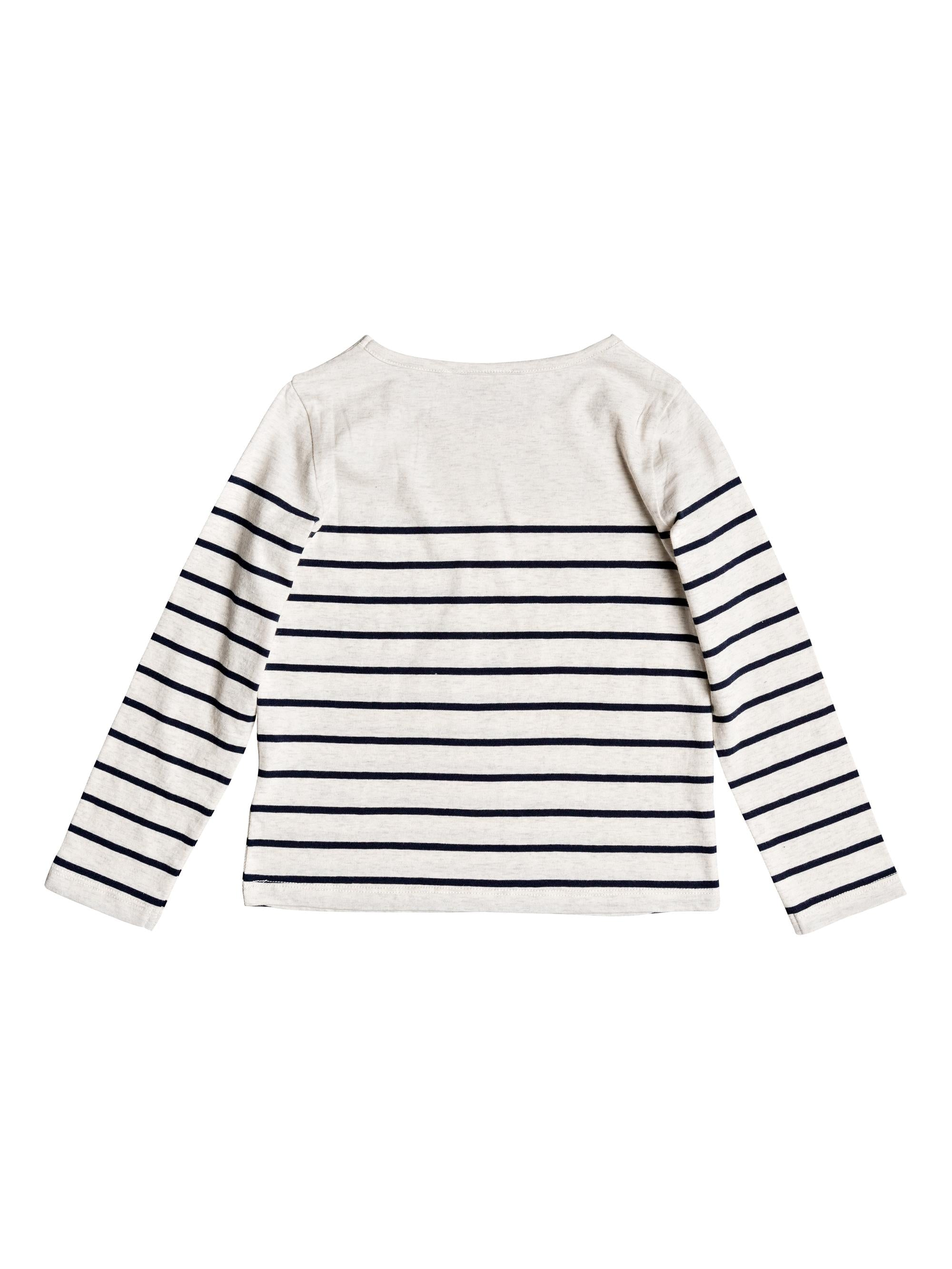 Roxy Girls Joy You Bring Long Sleeve Shirt in Dress Blue Nautic Stripe