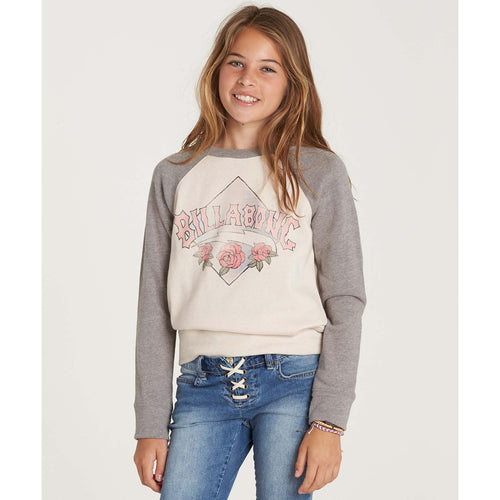 Billabong Girls Whole Hearted Crew Neck Fleece Sweatshirt In White Cap